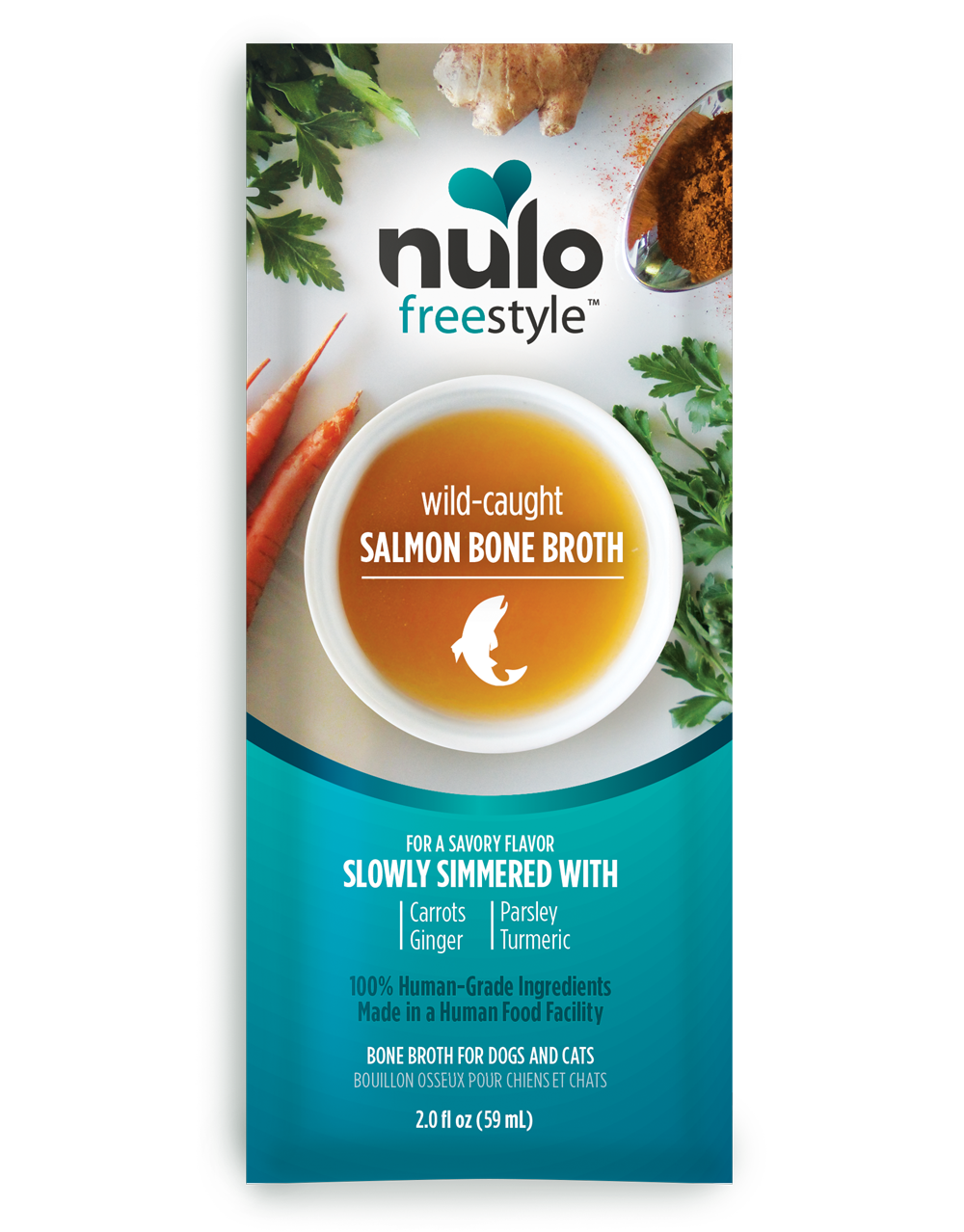 Nulo Freestyle Bone Broth Wild-Caught Salmon Dog & Cat Food Topper, 2-oz