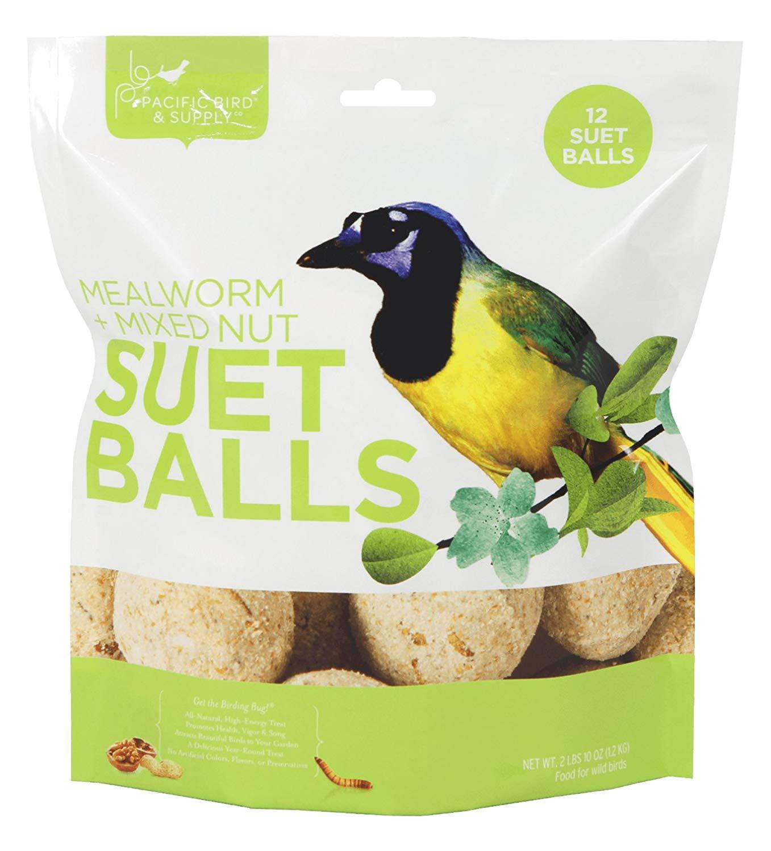 Pacific Bird & Supply Mealworm + Mixed Nut Suet Balls Wild Bird Food