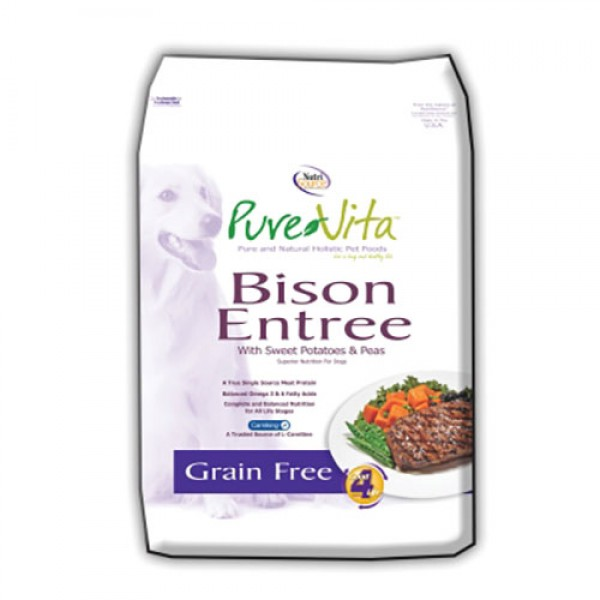 PureVita Bison Entrée with Sweet Potatoes & Peas Grain-Free Dry Dog Food, 15-lb
