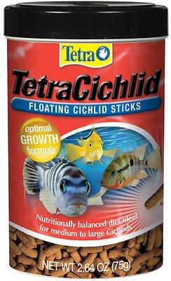 Tetra Cichlid Floating Cichlid Sticks Fish Food, 2.64-oz jar
