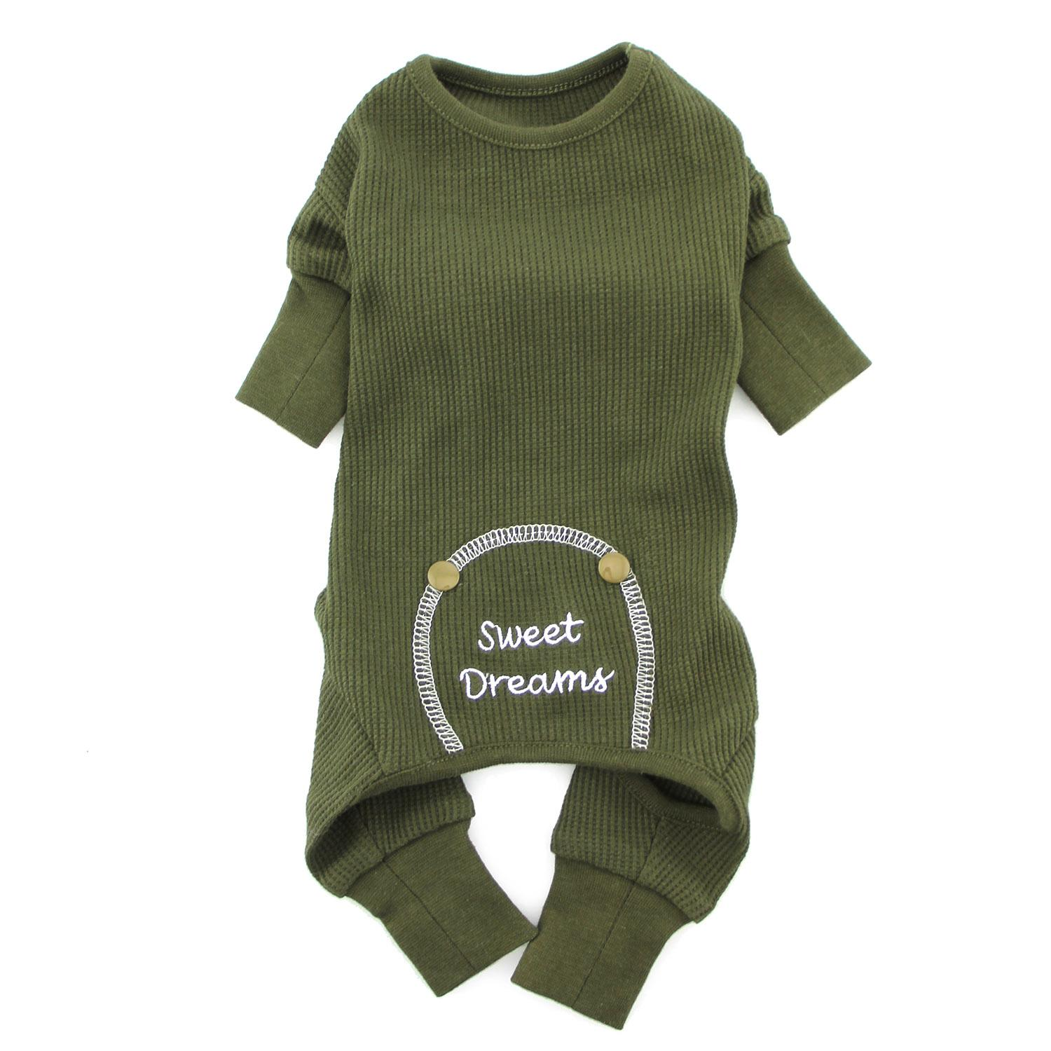 Doggie Design Thermal Pajamas for Dogs, Sweet Dreams, Herb Green, Large