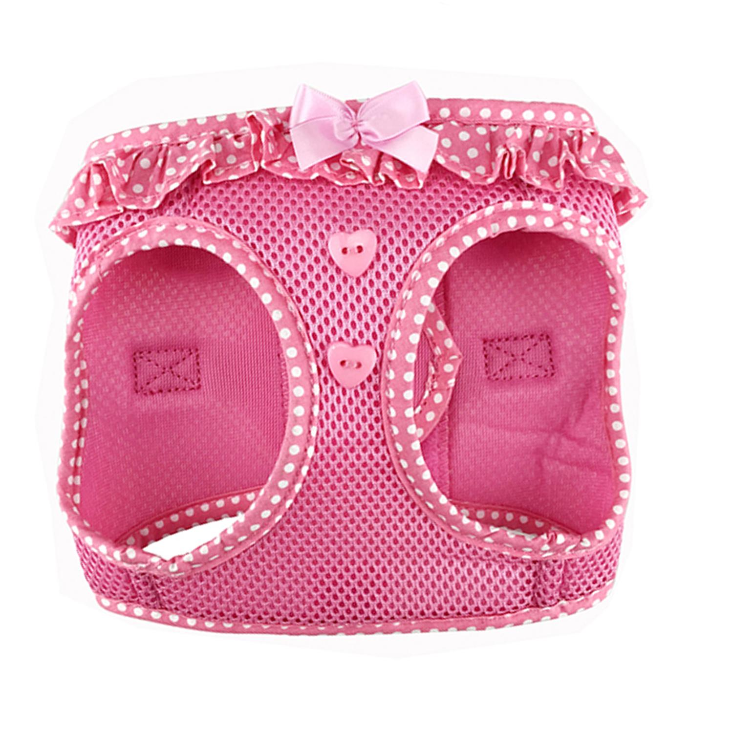 Doggie Design American River Choke-Free Dog Harness Polka Dot Collection, Pink, Large