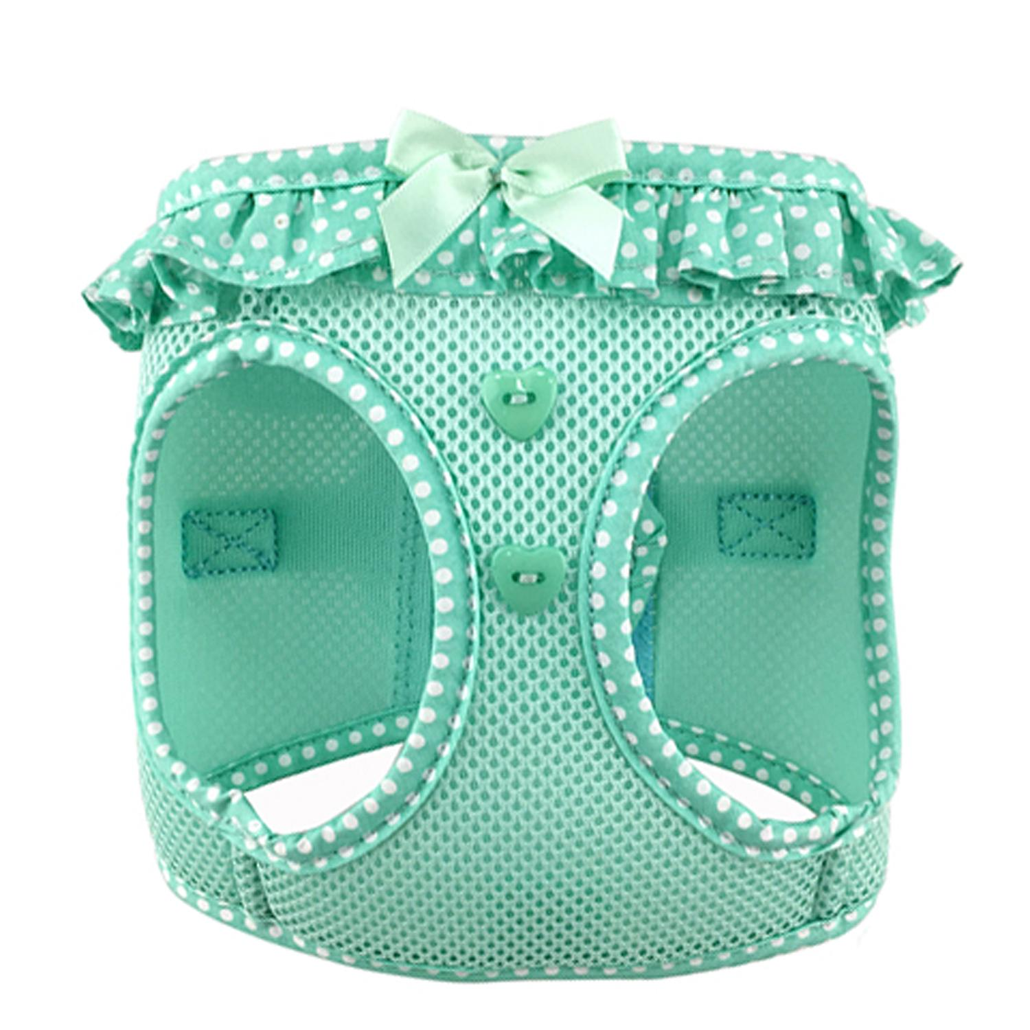 Doggie Design American River Choke-Free Dog Harness Polka Dot Collection, Teal, X-Large