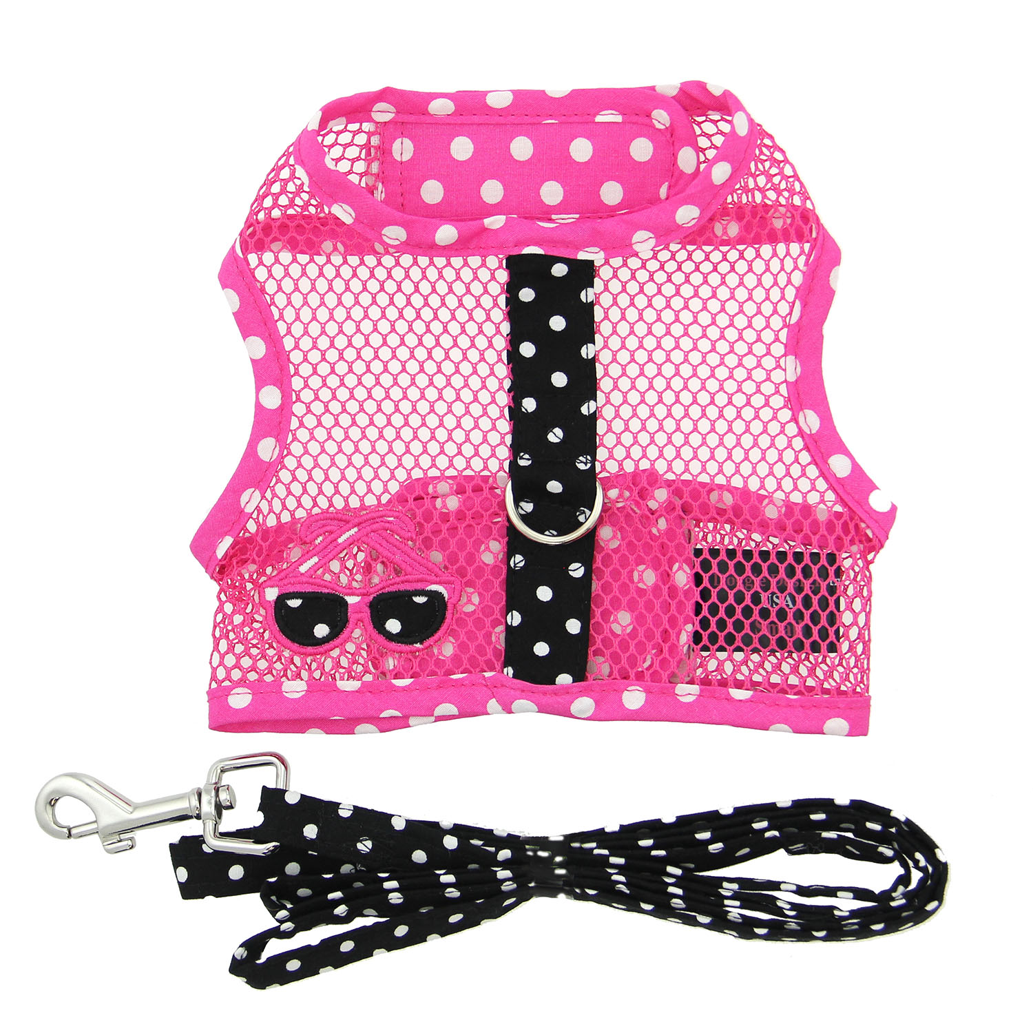 Doggie Design Cool Mesh Dog Harness with Matching Leash, Under the Sea Sunglasses, Large