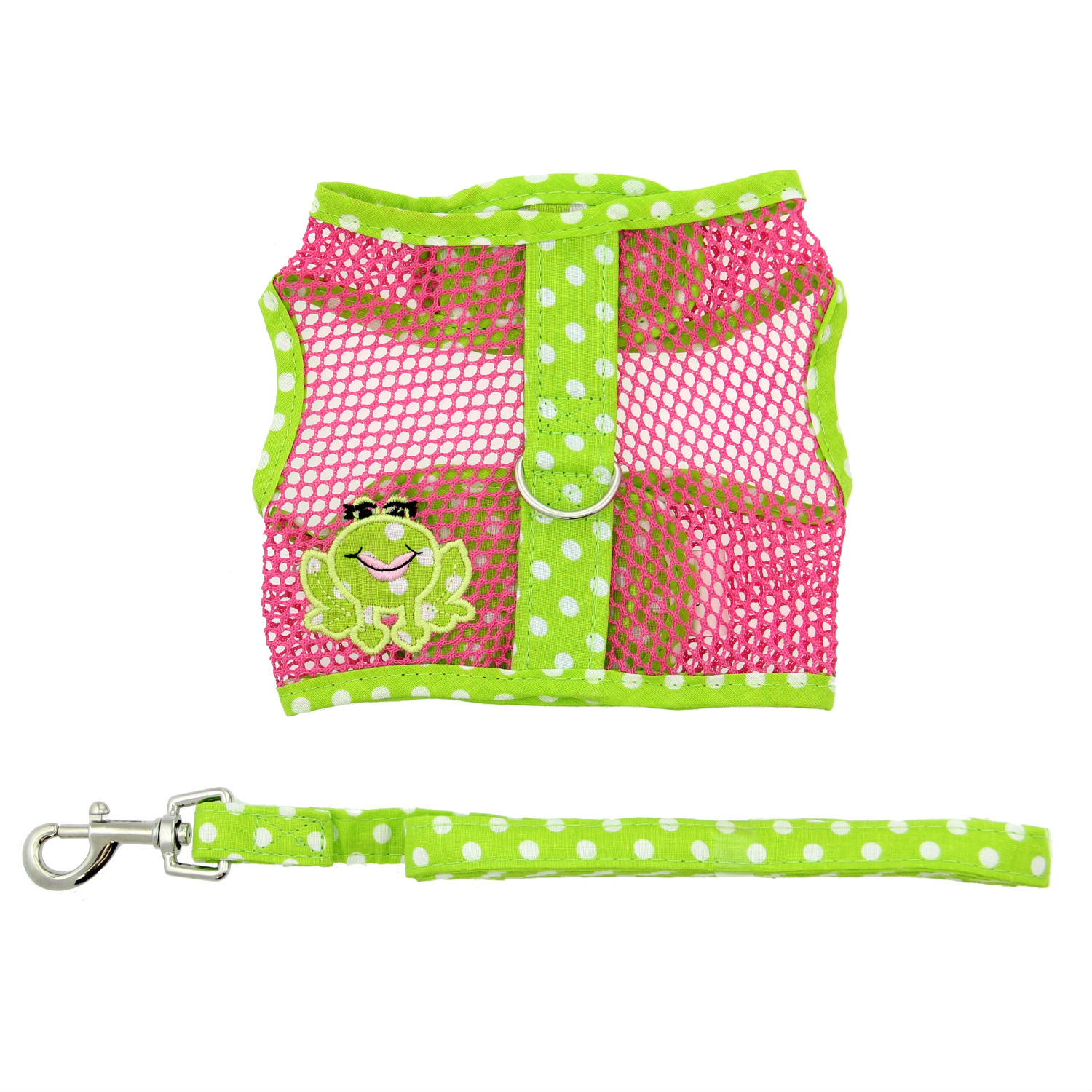Doggie Design Cool Mesh Dog Harness with Matching Leash, Under the Sea Frog, Large