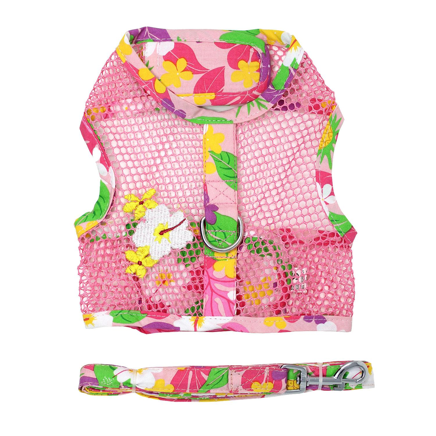 Doggie Design Cool Mesh Dog Harness with Matching Leash, Hawaiian Floral Pink, Large