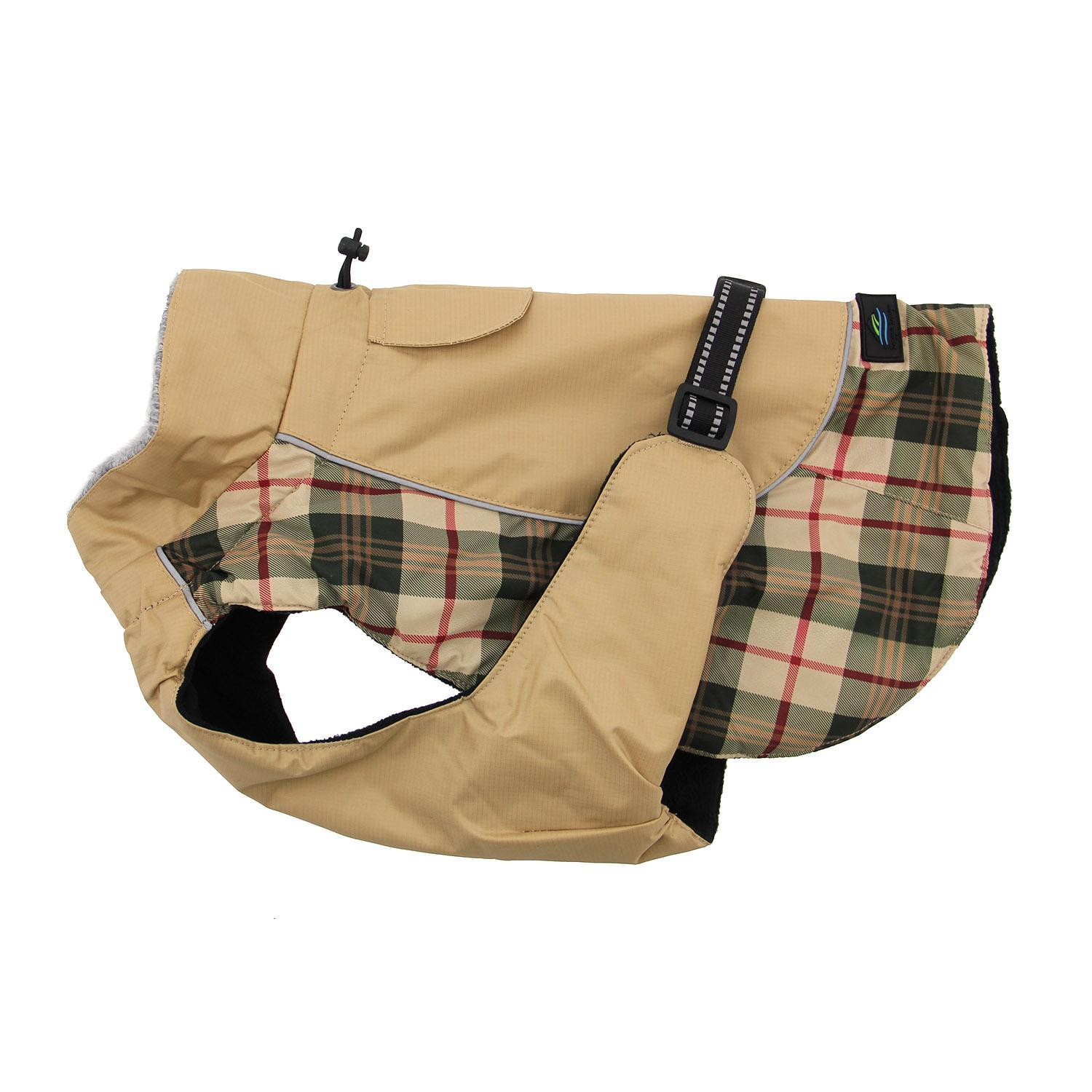 Doggie Design Alpine All-Weather Coat for Dogs, Plaid Beige, XX-Large