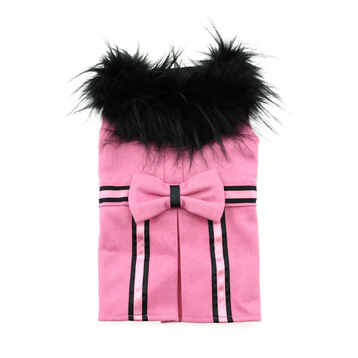 Doggie Design Designer Dog Coat Harness with Matching Leash, Pink Wool with Fur, X-Small