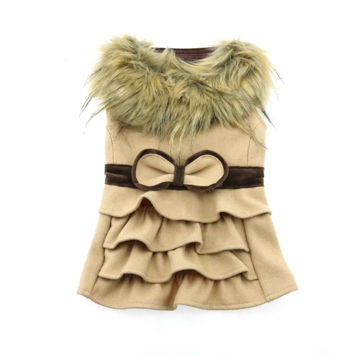 Doggie Design Designer Dog Coat Harness with Matching Leash, Camel Wool with Fur, Small