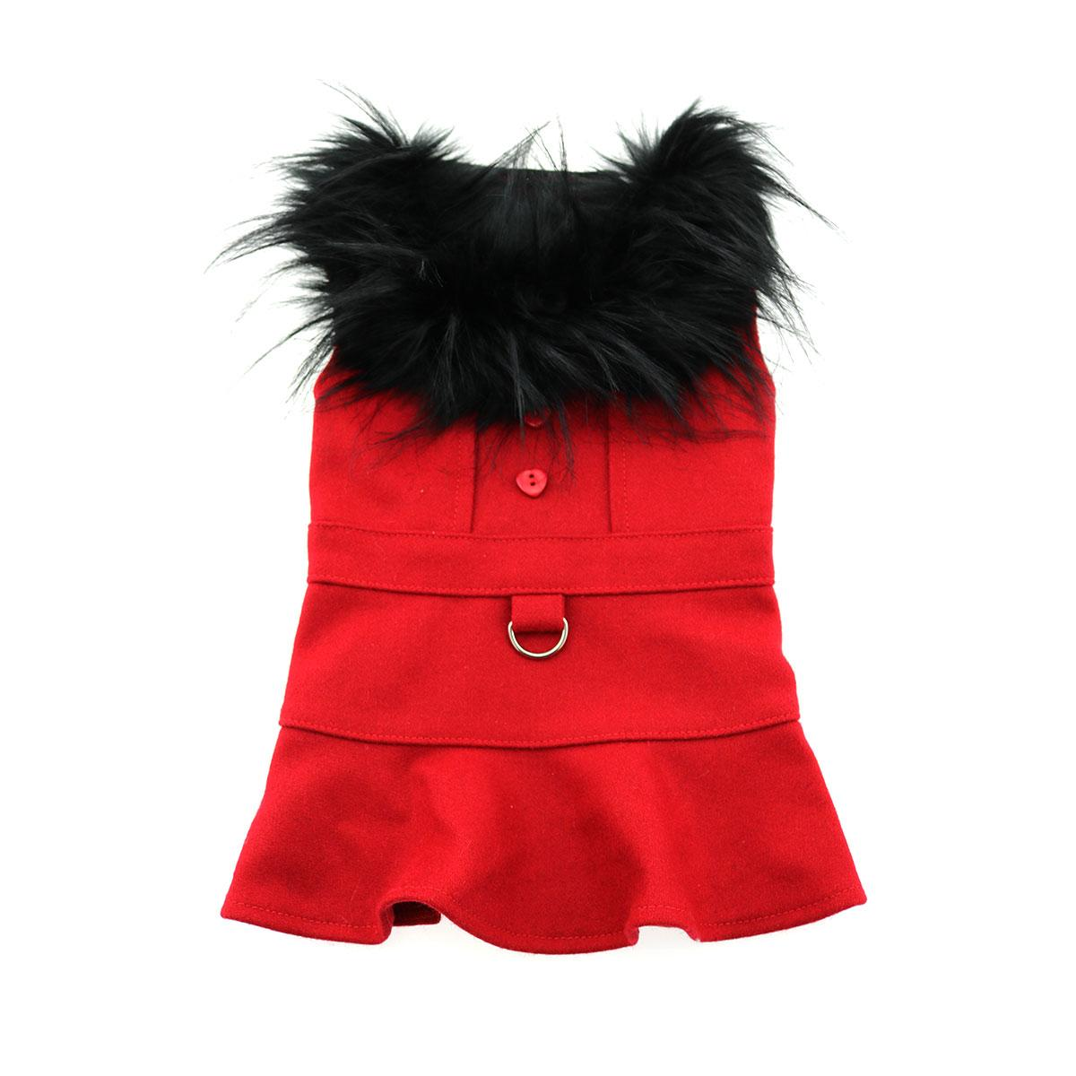 Doggie Design Designer Dog Coat Harness with Matching Leash, Red Wool with Fur, X-Small