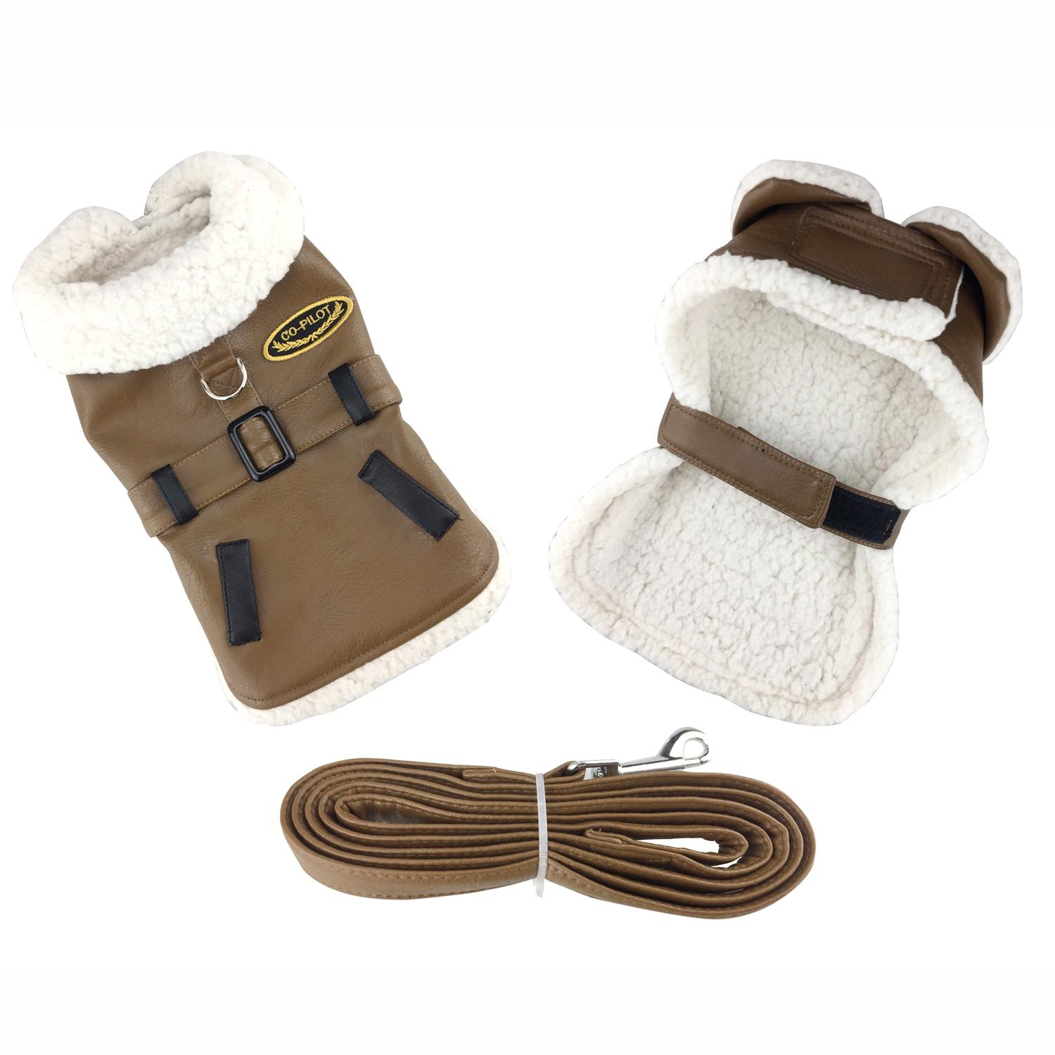 Doggie Design Designer Dog Coat Harness with Matching Leash, Brown Faux Leather Bomber, X-Small