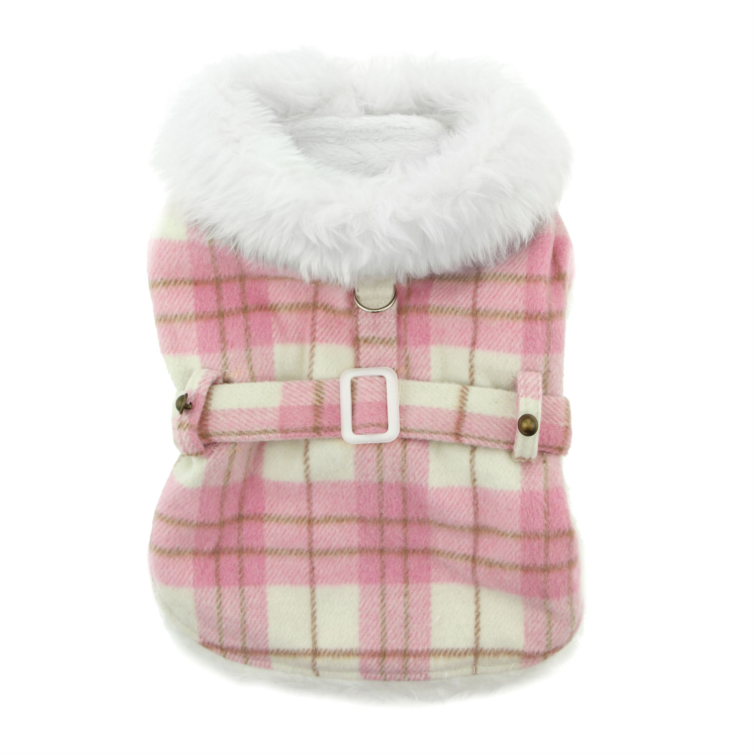Doggie Design Designer Dog Coat Harness with Matching Leash, Pink Plaid with White Fur, XX-Large