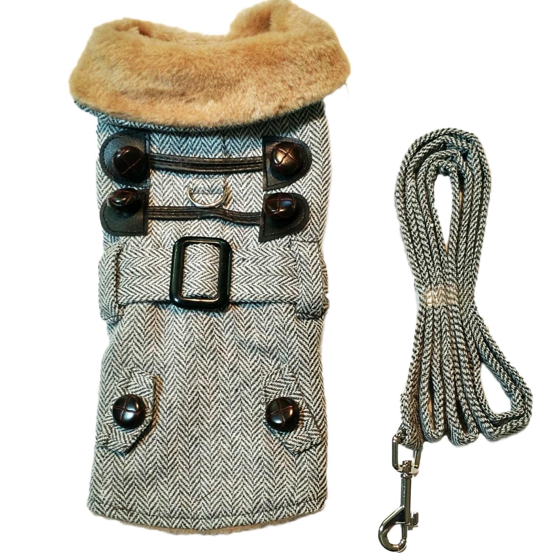 Doggie Design Designer Dog Coat Harness with Matching Leash, Grey Herringbone with Fur, X-Small