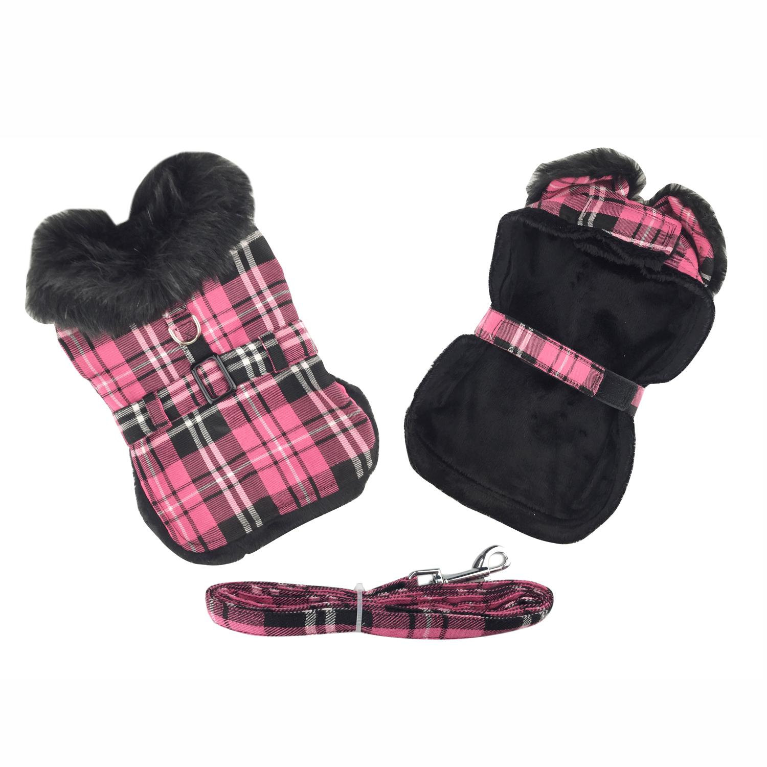 Doggie Design Designer Dog Coat Harness with Matching Leash, Hot Pink Plaid with Black Fur, XX-Large