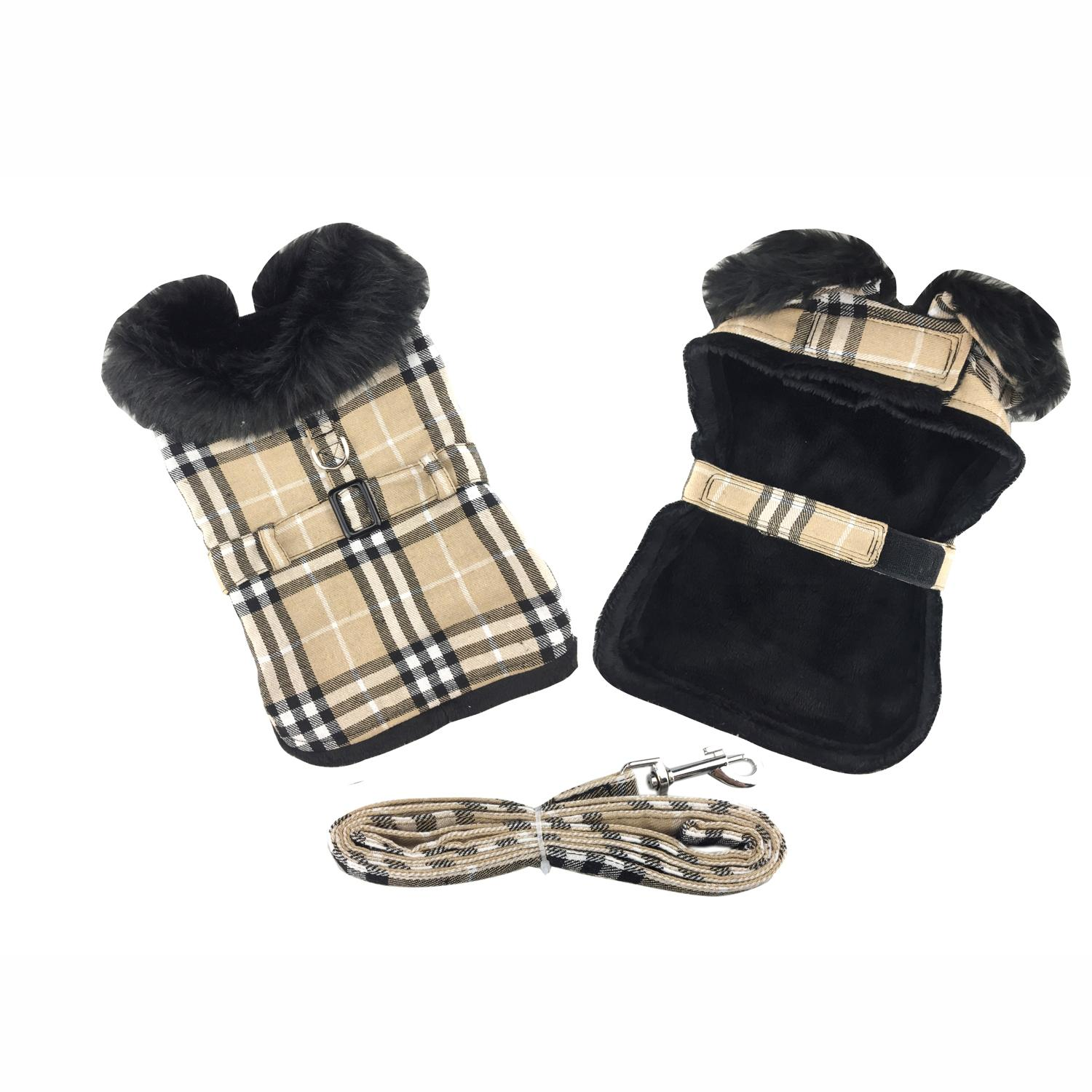 Doggie Design Designer Dog Coat Harness with Matching Leash, Camel Plaid with Black Fur, Small