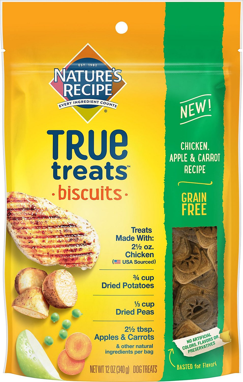 Nature's Recipe True Treats Biscuits Chicken, Apple, and Carrot Recipe Grain-Free Dog Treats