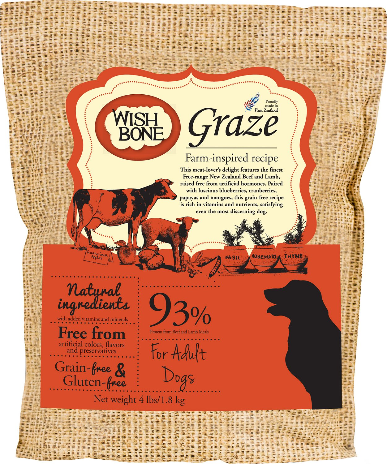 Wishbone Graze Grain-Free Dry Dog Food, 4-lb