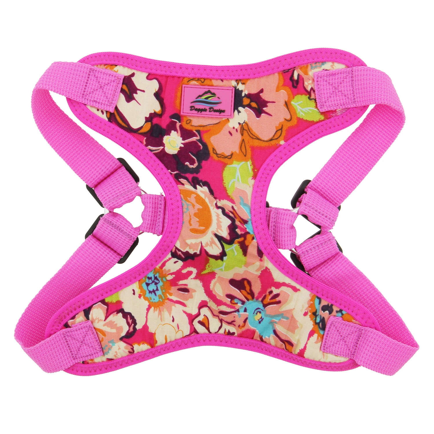 Doggie Design Wrap & Snap Choke-Free Dog Harness, Aruba Raspberry, Large