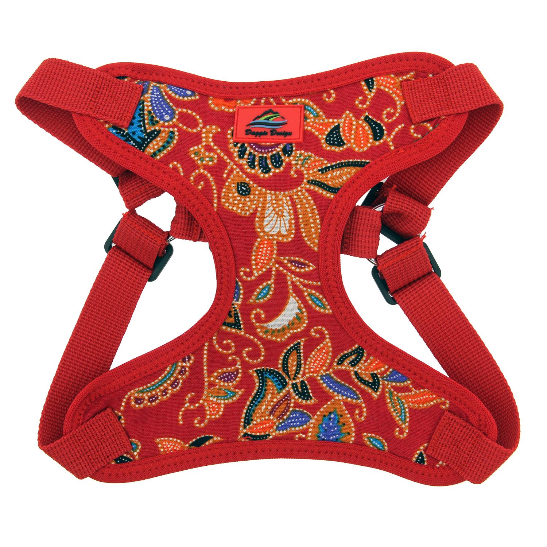 Doggie Design Wrap & Snap Choke-Free Dog Harness, Tahiti Red, Large