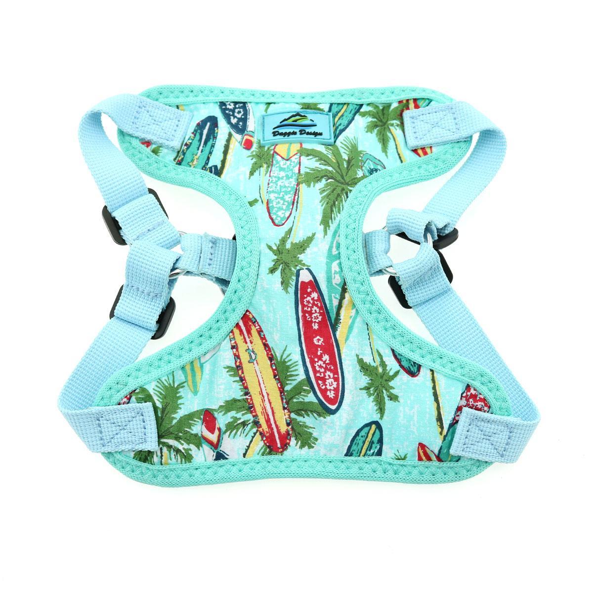 Doggie Design Wrap & Snap Choke-Free Dog Harness, Surfboards & Palms, X-Small