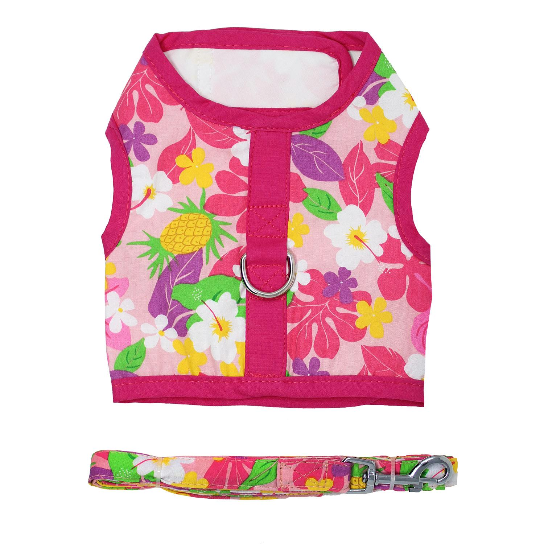 Doggie Design Fabric Dog Harness with Matching Leash, Pink Hawaiian Floral, Medium