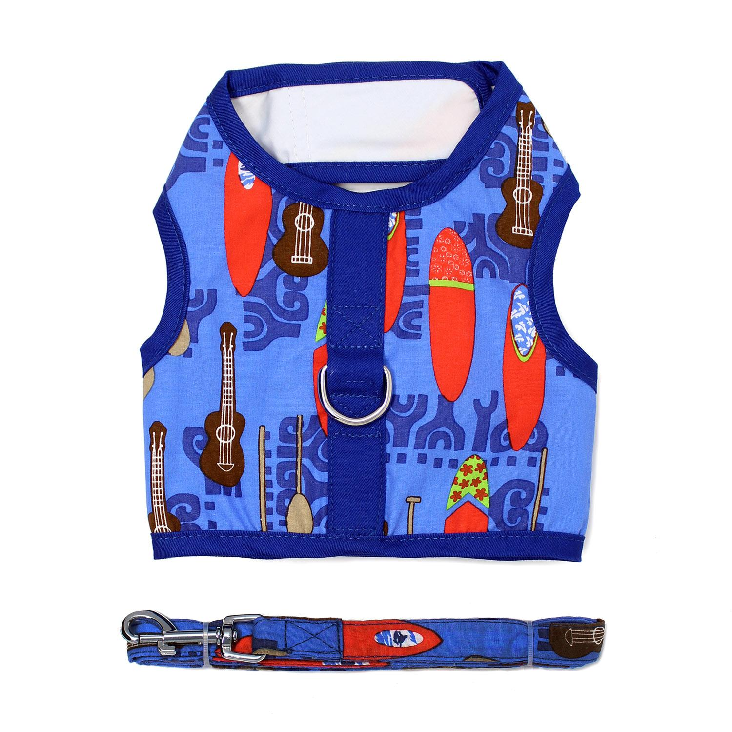 Doggie Design Fabric Dog Harness with Matching Leash, Ukuleles & Surfboards, X-Small