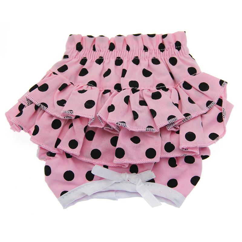 Doggie Design Ruffled Dog Panties, Pink & Black Polka Dot, X-Small