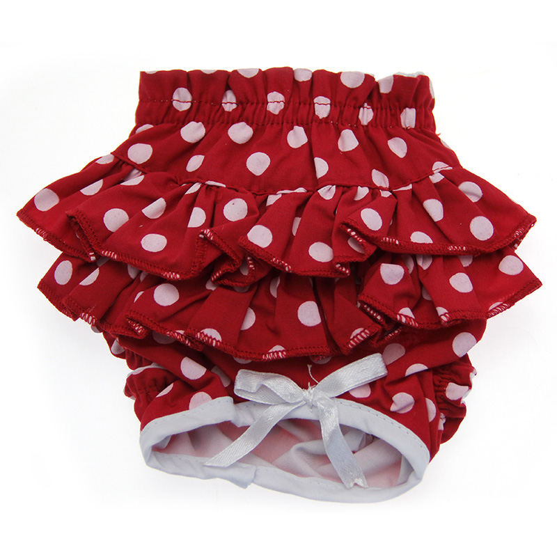 Doggie Design Ruffled Dog Panties, Red & White Polka Dot, X-Large