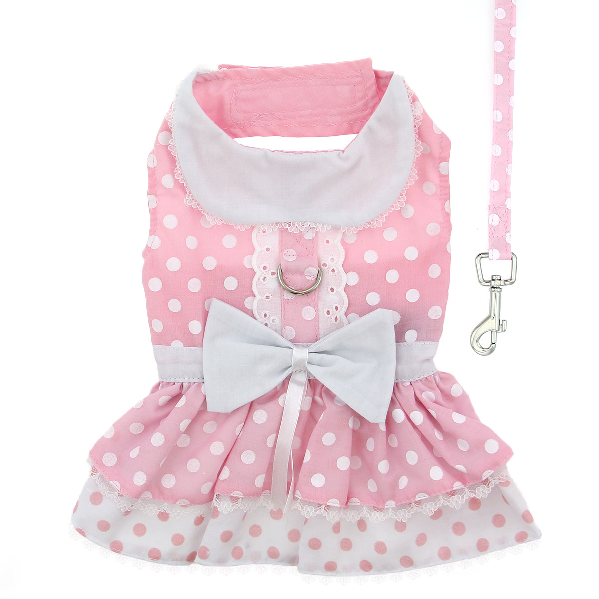 Doggie Design Dog Dress with Matching Leash, Pink Polka Dot & Lace, Large