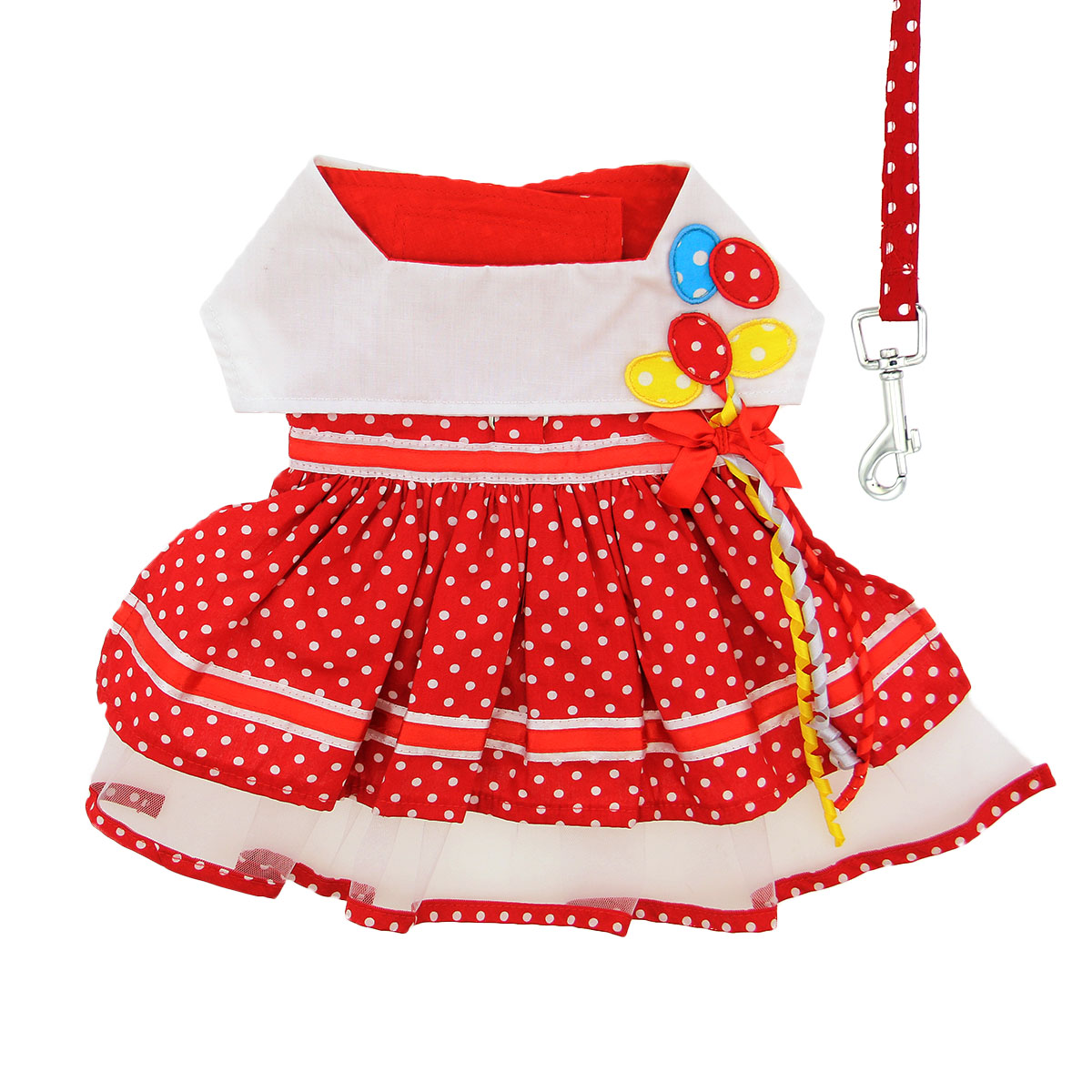 Doggie Design Dog Dress with Matching Leash, Red Polka Dot Balloon, X-Small