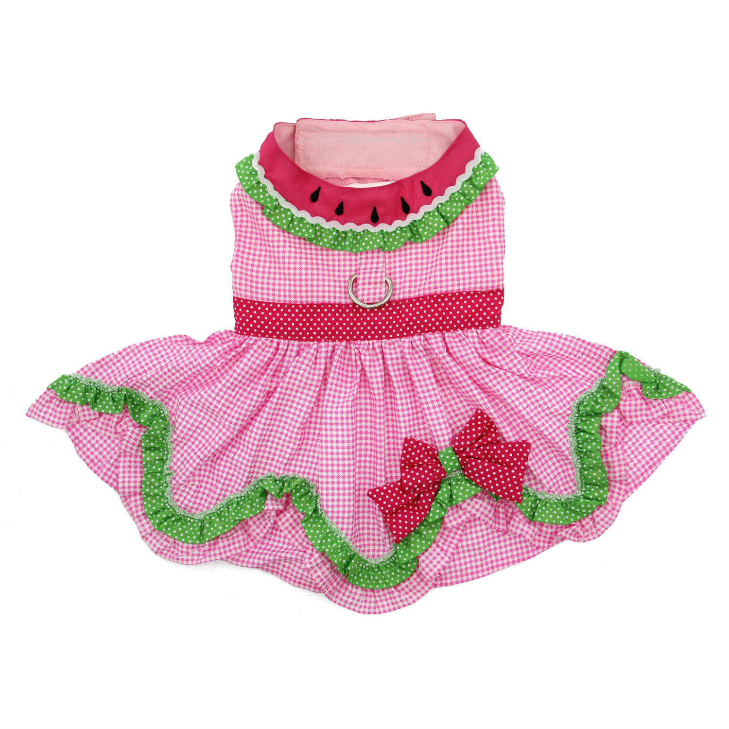 Doggie Design Dog Dress with Matching Leash, Watermelon, Large