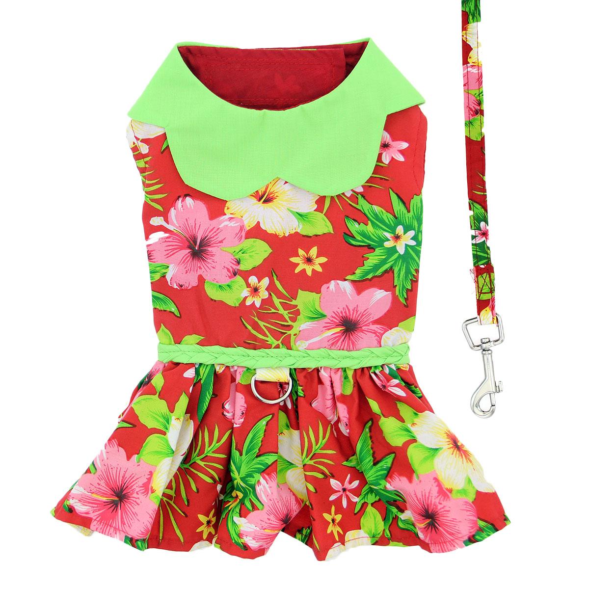 Doggie Design Dog Dress with Matching Leash, Hawaiian Red Hibiscus, X-Small