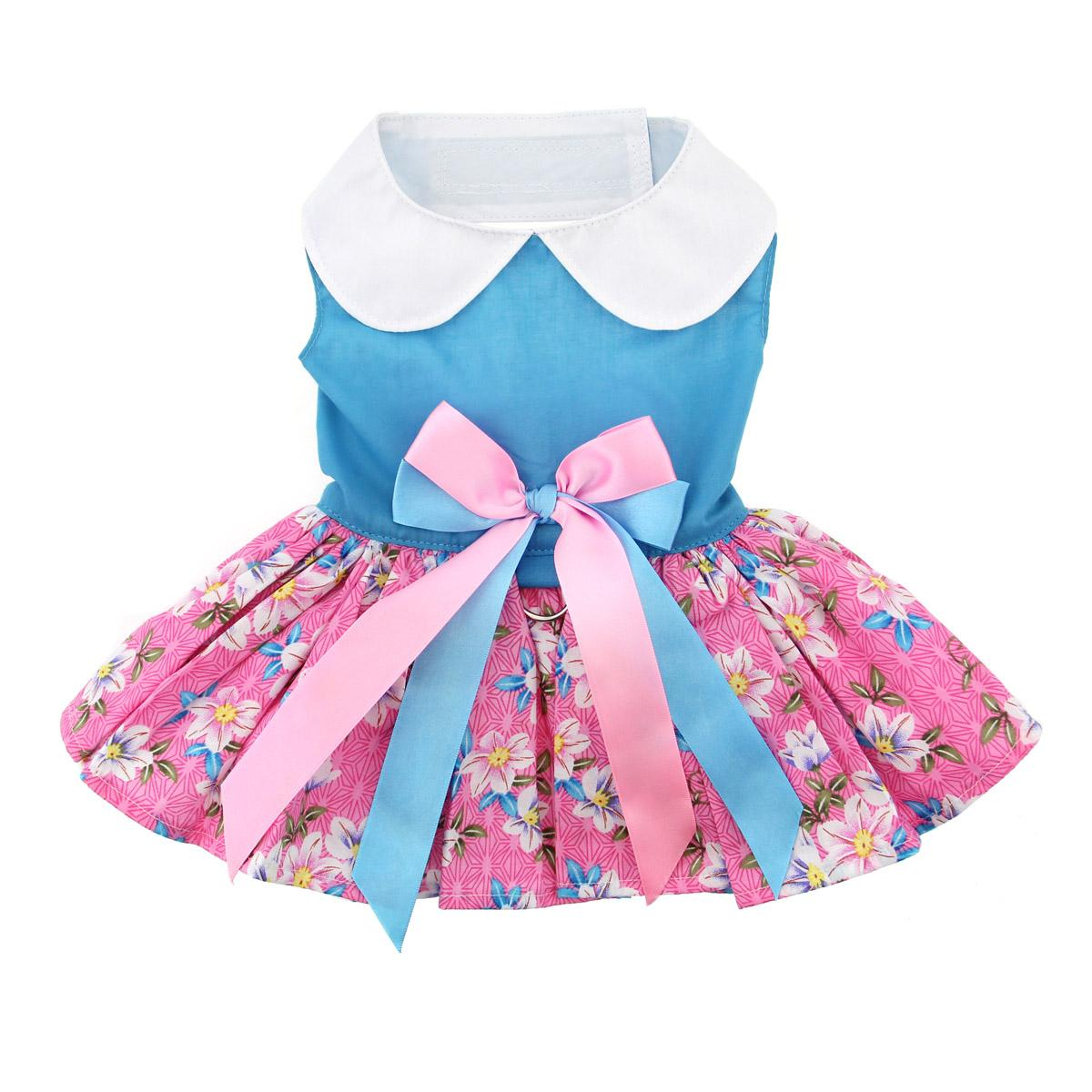 Doggie Design Dog Dress with Matching Leash, Pink & Blue Plumeria Floral , X-Small