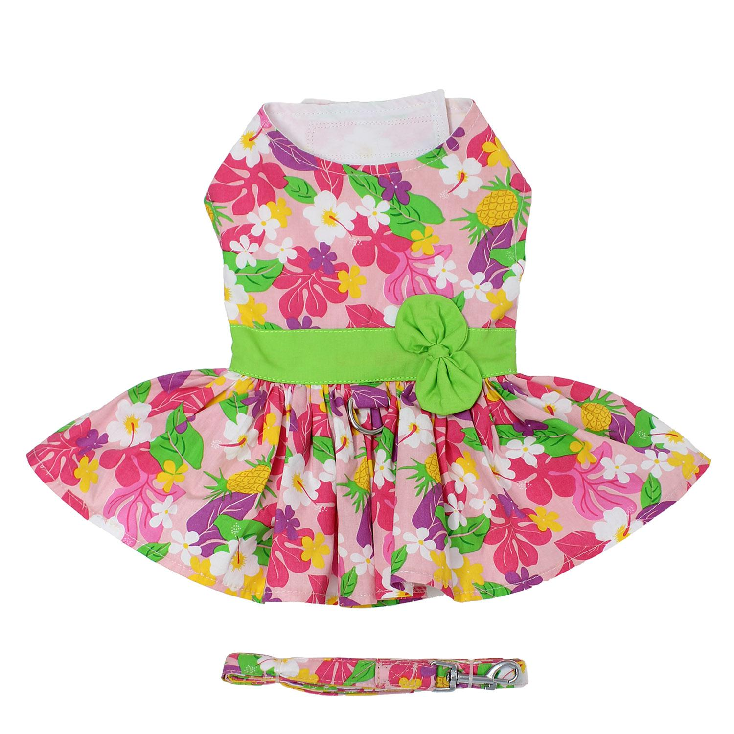 Doggie Design Dog Dress with Matching Leash, Pink Hawaiian Floral, Small
