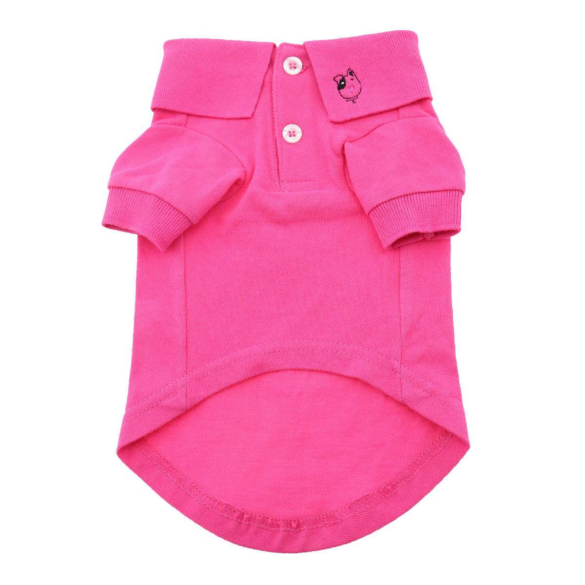 Doggie Design Polo Shirt for Dogs, Solid Raspberry Sorbet, Medium