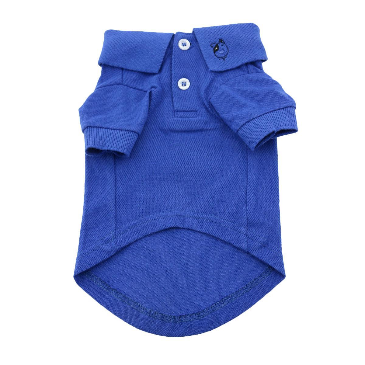 Doggie Design Polo Shirt for Dogs, Solid Nautical Blue, Medium
