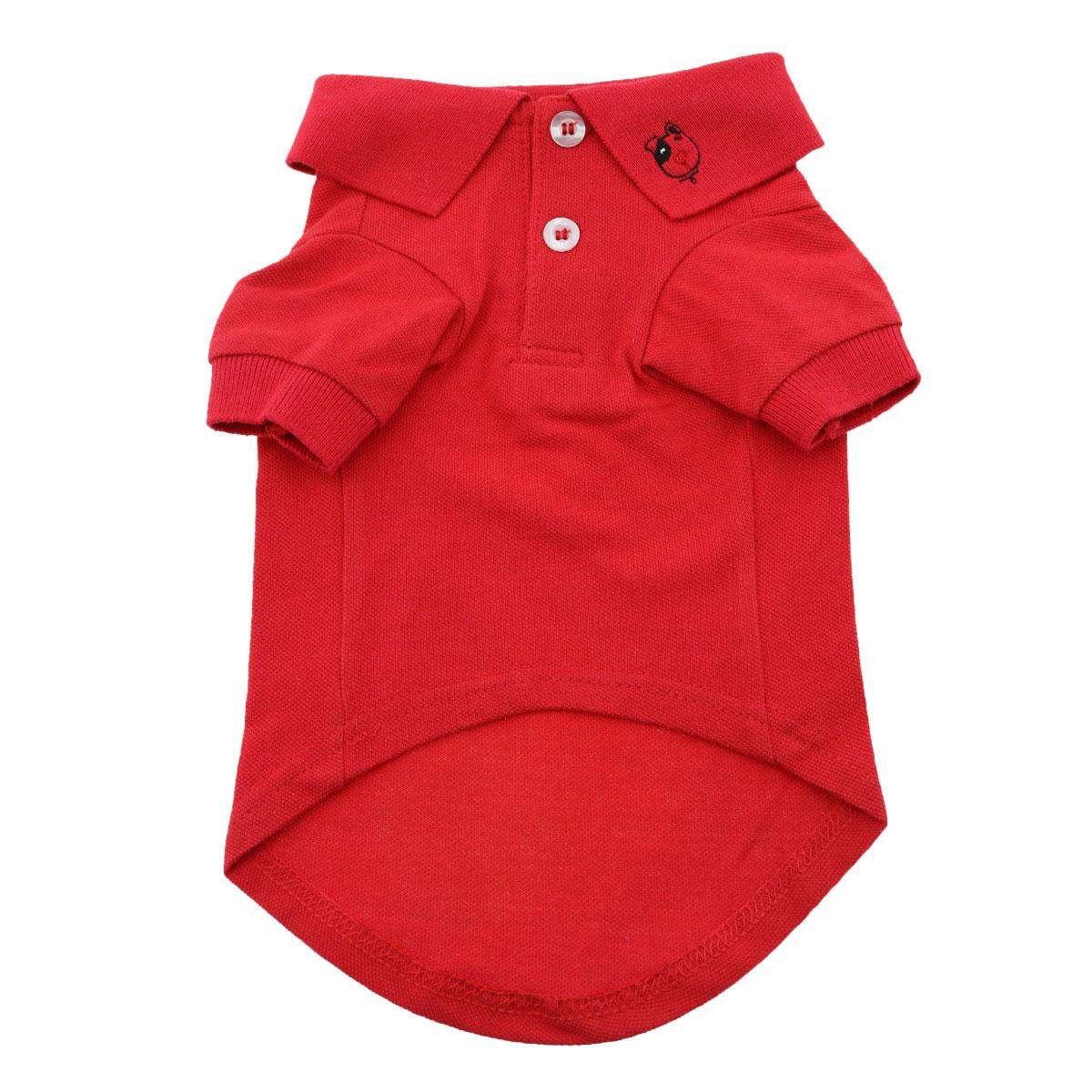 Doggie Design Polo Shirt for Dogs, Solid Flame Scarlet Red, XX-Large