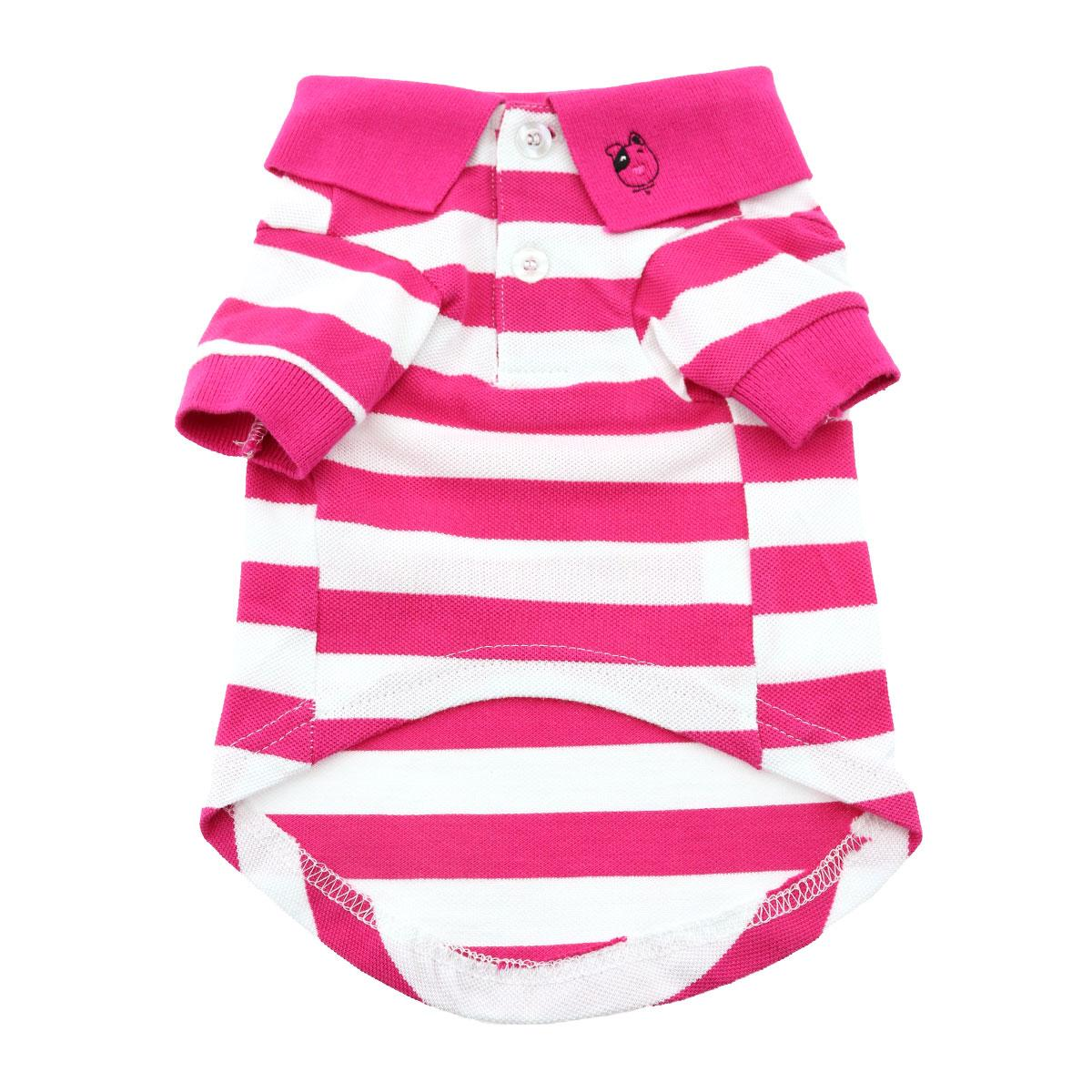Doggie Design Polo Shirt for Dogs, Striped Pink Yarrow & White, X-Small