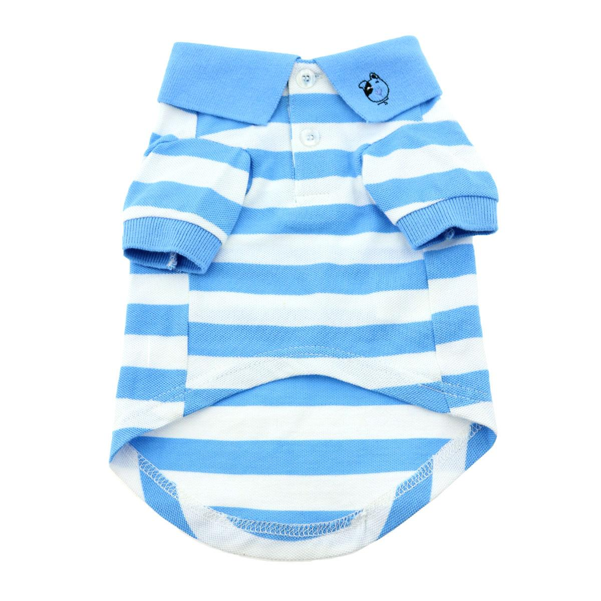 Doggie Design Polo Shirt for Dogs, Striped Blue Niagra & White, XX-Large