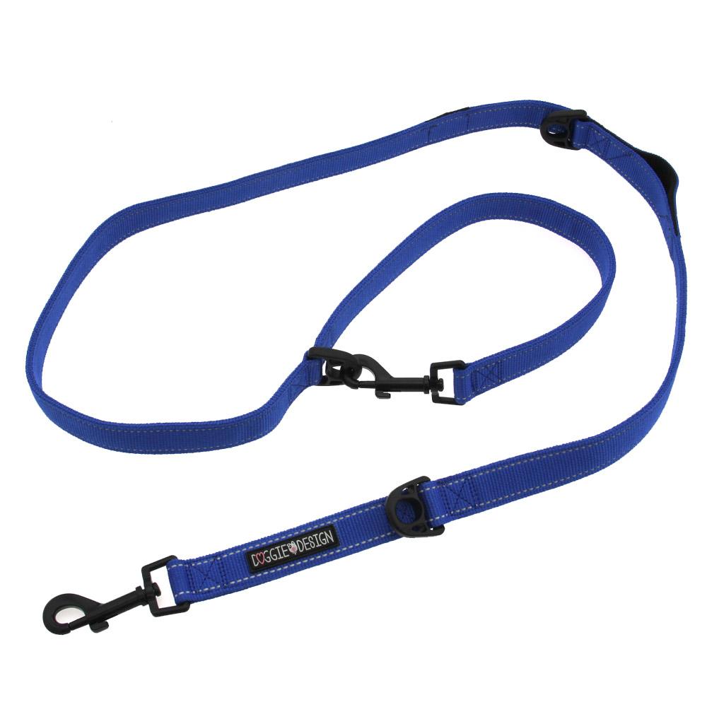 Doggie Design 6 Way Multi-Function Dog Leash, Cobalt Blue