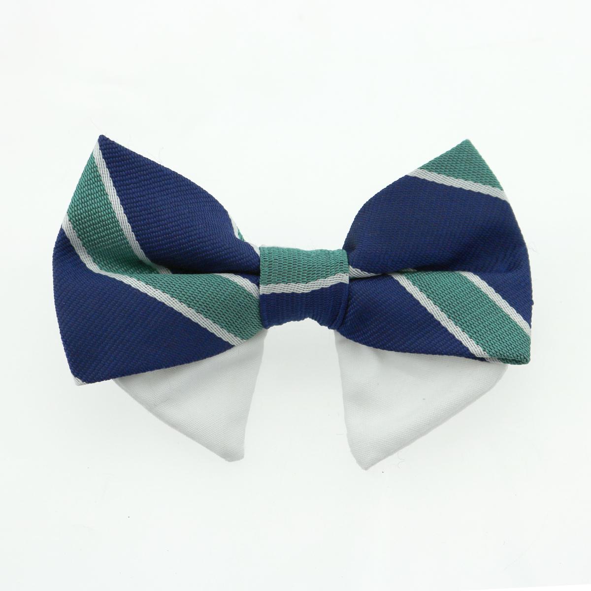 Doggie Design Universal Dog Bow Tie, Navy Blue & Green Stripe, Type 1