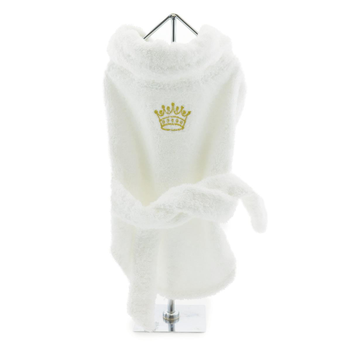 Doggie Design Cotton Dog Bathrobe, White with Gold Crown, Medium
