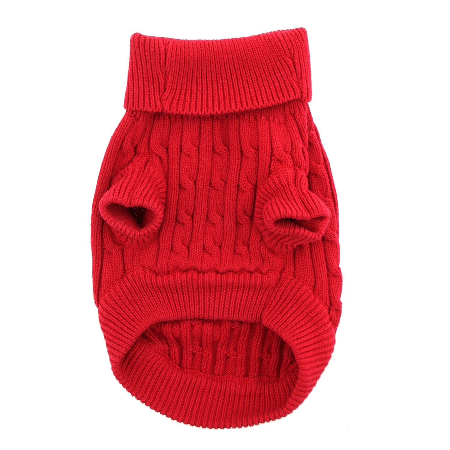 Doggie Design Cotton Dog Sweater, Cable Knit Fiery Red, XX-Small