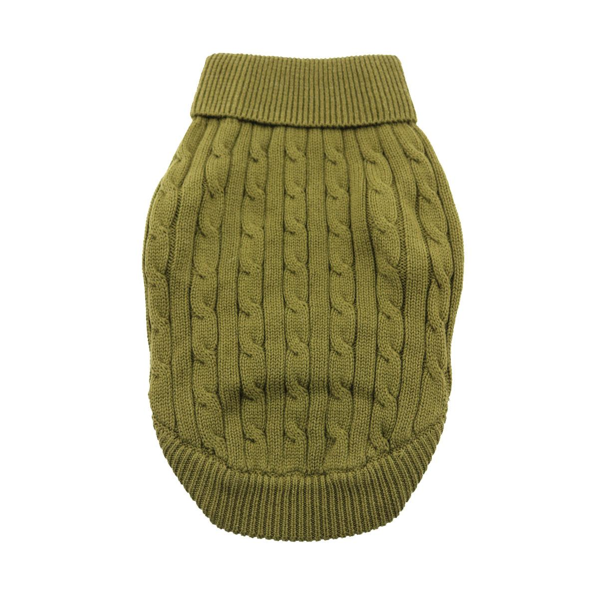 Doggie Design Cotton Dog Sweater, Cable Knit Herb Green, XX-Small