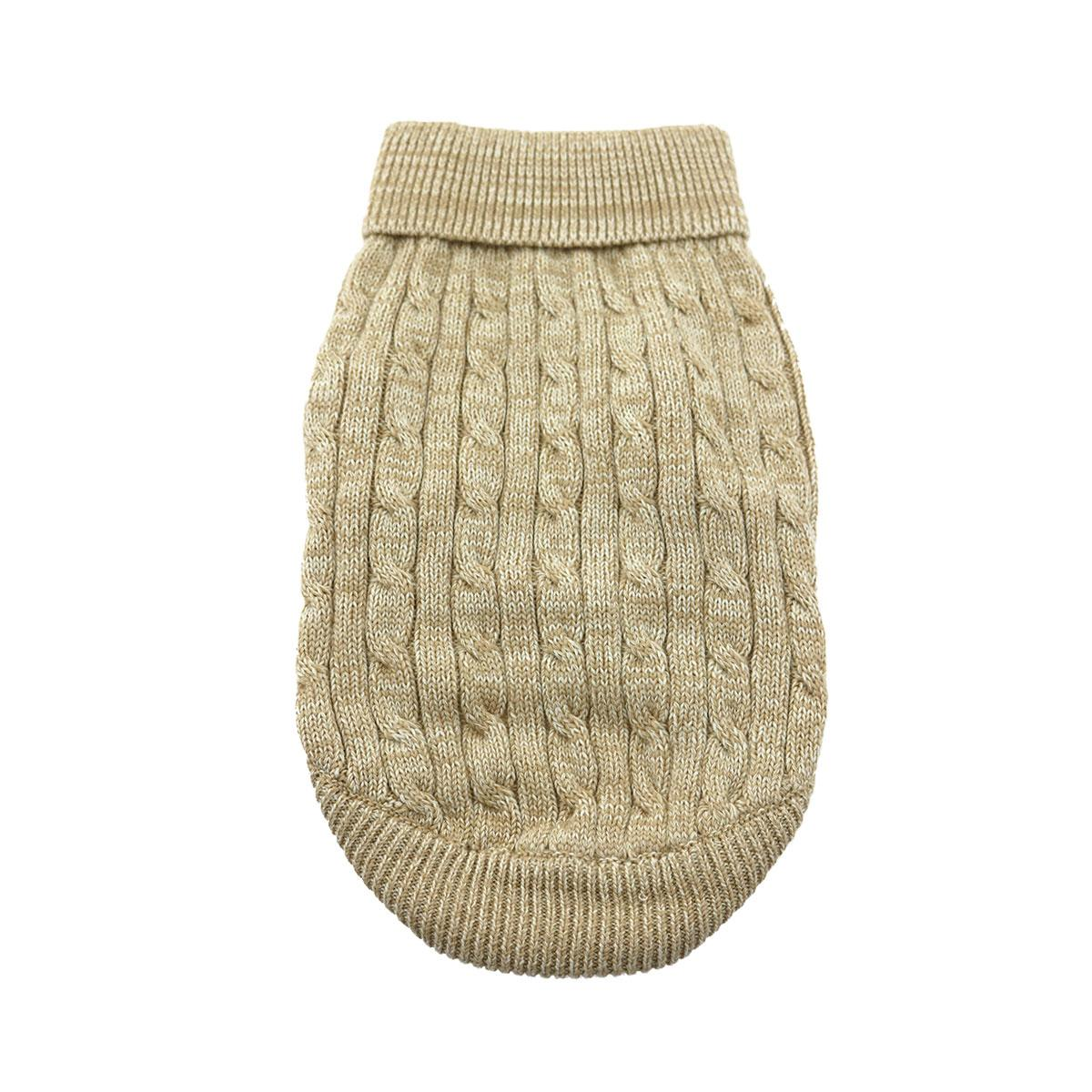 Doggie Design Cotton Dog Sweater, Cable Knit Oatmeal, XX-Small