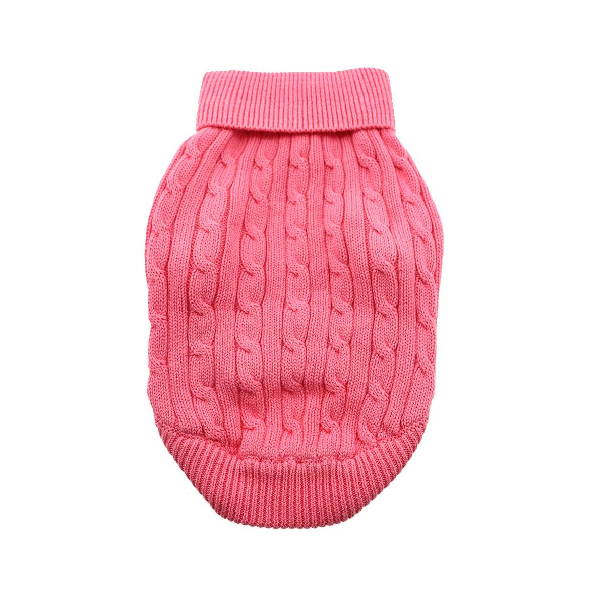 Doggie Design Cotton Dog Sweater, Cable Knit Candy Pink, Small