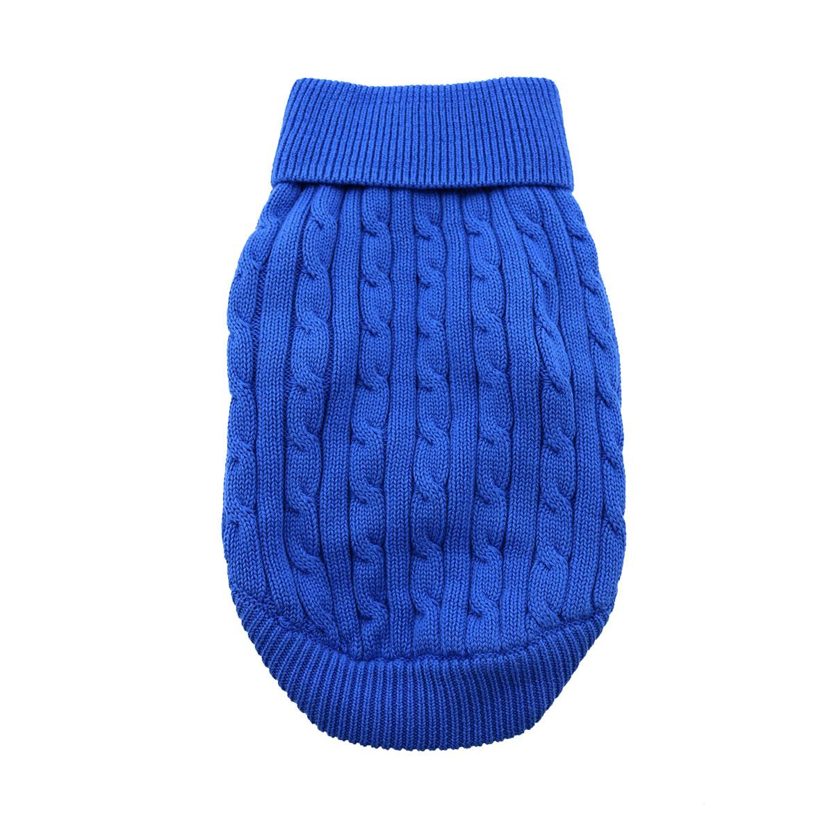 Doggie Design Cotton Dog Sweater, Cable Knit Riverside Blue, XX-Small