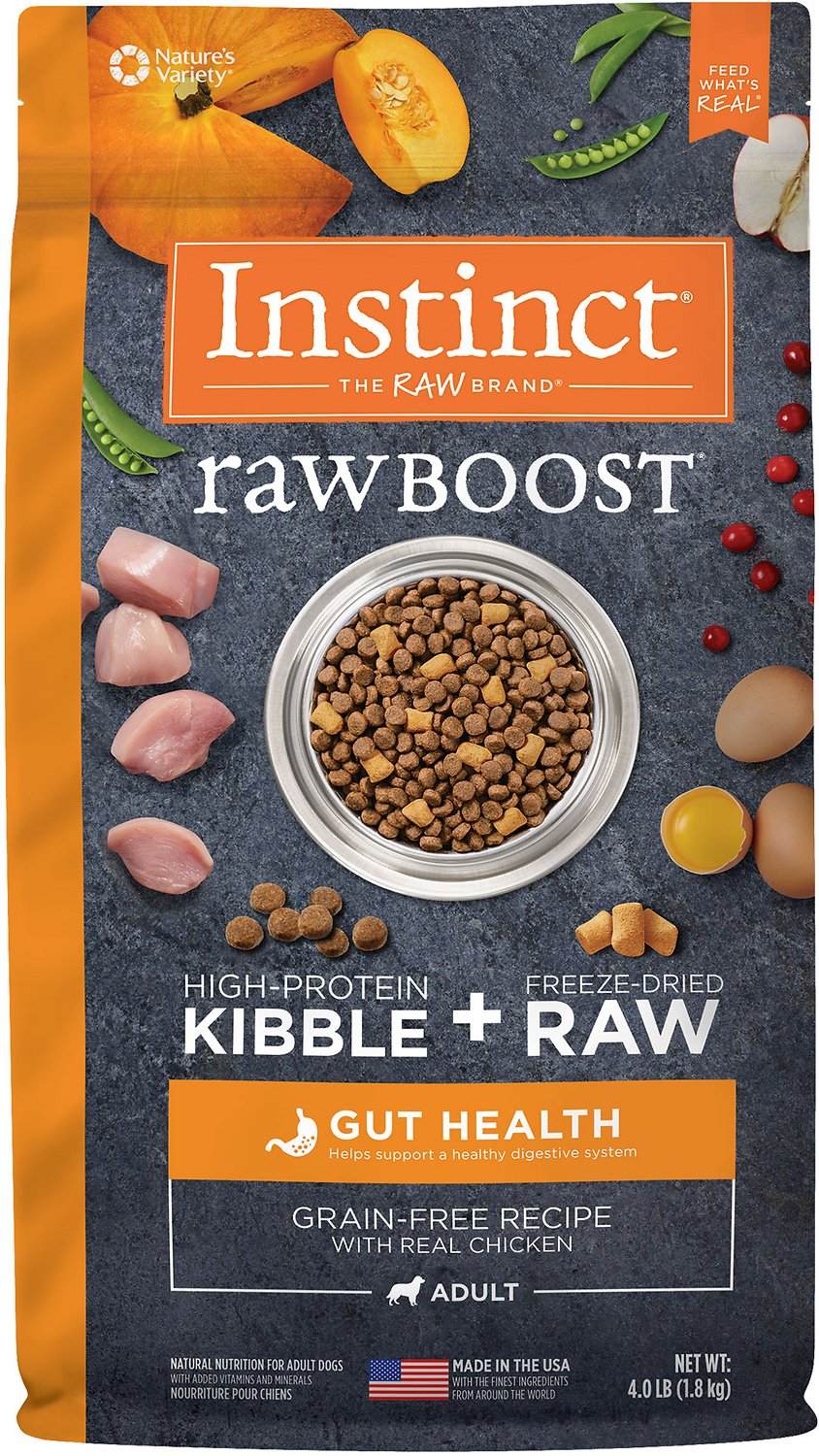Instinct by Nature's Variety Raw Boost Gut Health Grain-Free Recipe with Real Chicken Adult Dry Dog Food, 4-lb