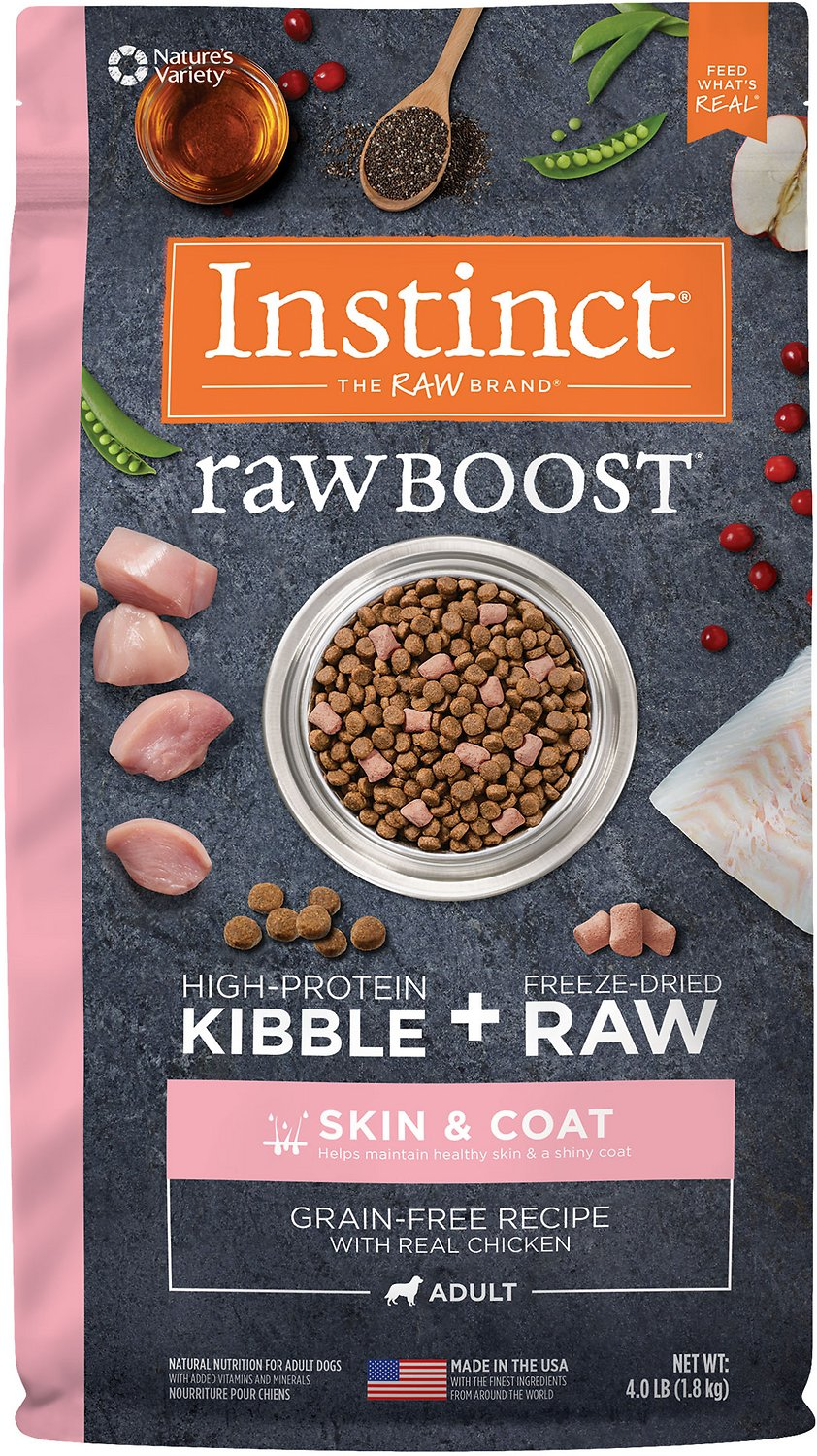 Instinct by Nature's Variety Raw Boost Skin & Coat Health Grain-Free Recipe with Real Chicken Adult Dry Dog Food, 4-lb