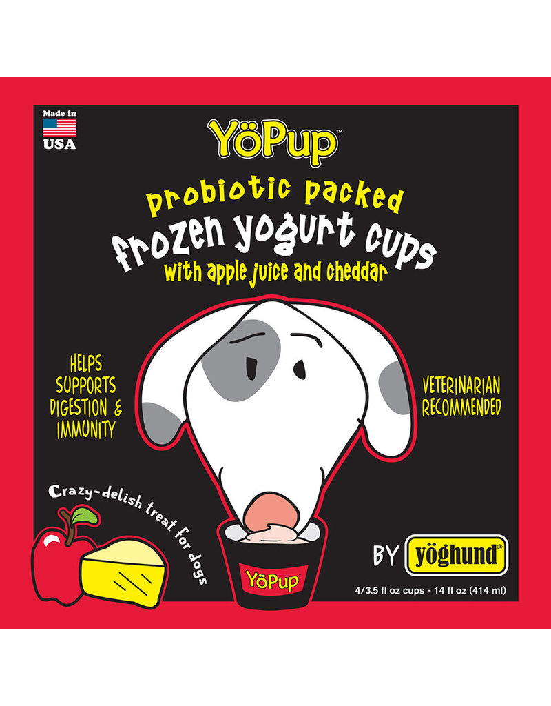Yoghund Yo Pup Frozen Yogurt Cups Apple Juice & Cheddar Dog Treats, 4-pk
